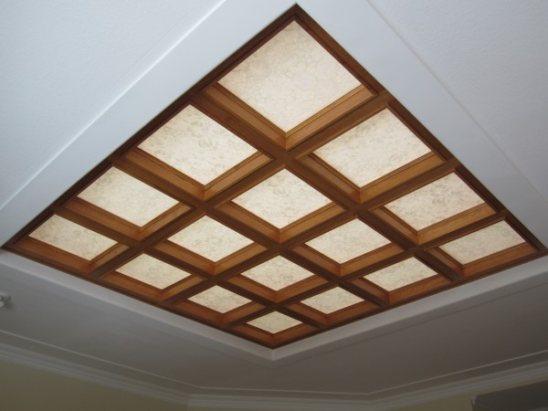 10' x 10' coffered, hickory trimmed skylight in great room