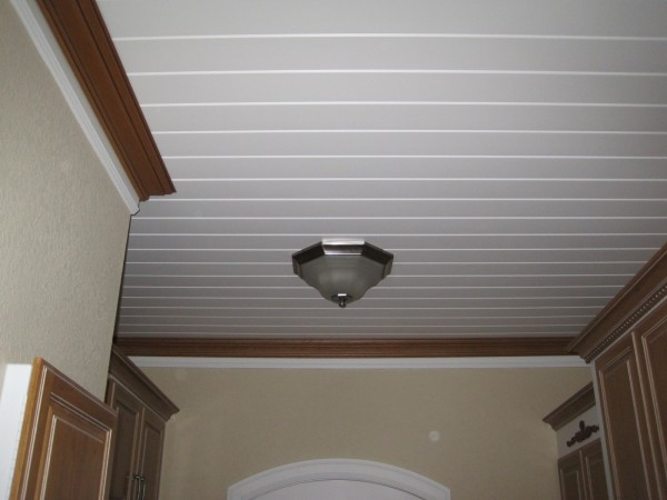 Laundry wood ceiling
