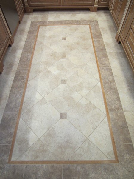 Kitchen tile with hickory inlay