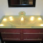 Lighted glass sink